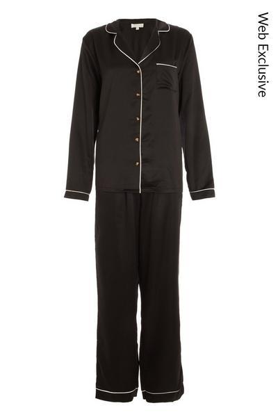 Black Satin Long Pyjama Set